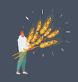 man with wheat with big sheaf of vector image vector image