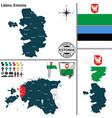 map of laane estonia vector image vector image