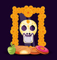 mask of the santa death with mustache in frame vector image vector image