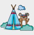 nice bear tribal animal with camp vector image