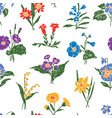 pattern of various drawn flowers vector image
