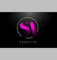 pink sa brush stroke letter logo design vector image vector image