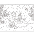 Santa and Snowman vector image vector image