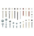 screws and bolts realistic set workshop and vector image