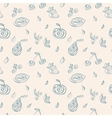 Seamless pattern by stylized fruits vector image