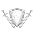 shield with swords hand drawn sketch vector image vector image