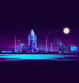 spaceport base at night with rocket vector image vector image