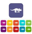 styracosaurus icons set flat vector image vector image