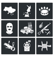 The situation in Ukraine Icons Set vector image vector image