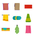 towel hanging spa bath icons set isolated vector image vector image