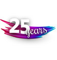 twenty five years greeting card with colorful vector image vector image