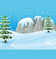 winter landscape with snowy rocks and fir trees vector image