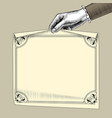 womans hand holding a paper sheet with retro frame vector image vector image
