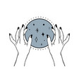 womens hands holding mystery magic ball and stars vector image vector image