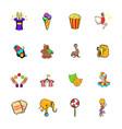 circus comics icons set cartoon vector image