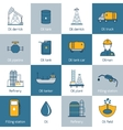 Oil Icons Flat Line vector image