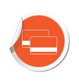 credit cards icon orange label vector image