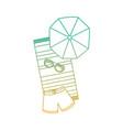 beach umbrella swimsuit sunglasses and towel vector image