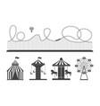 black and white amusement park attraction set vector image