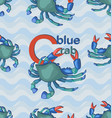 blue crab with letters seamless pattern with wavy vector image vector image