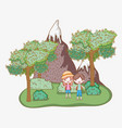 boy and girl with ice mountains and trees vector image vector image