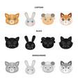 cat rabbit fox sheep animal muzzle set vector image