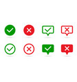 check marks set green tick and red cross in vector image vector image