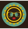 Cool sun with woman face in retro style vector image