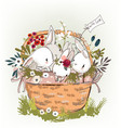 cute birthday hares in basket vector image vector image