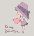 cute cartoon little girl in pink hat and dress vector image