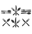cutlery icon set vector image vector image