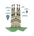 doodle sagrada familia tower and air balloons vector image