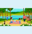 family having fun on picnic cartoon vector image