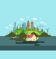 family house with industrial city on background vector image vector image