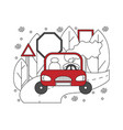 flat in lines with girl in a car vector image vector image