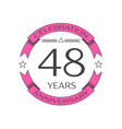 forty eight years anniversary celebration logo vector image vector image