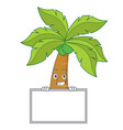 grinning with board palm tree character cartoon vector image vector image