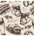 Hand drawn Oktoberfest vintage seamless pattern vector image vector image