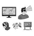 hand monitor headphones woman virtual reality vector image vector image