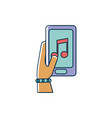 hand with smartphone app note musical melody sound vector image vector image
