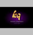 kq k q 3d gold golden alphabet letter metal logo vector image vector image