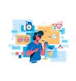 man buying goods via internet app vector image