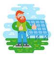 man near solar energy battery vector image vector image