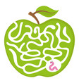 maze game for kids worm apple labyrint puzzle vector image vector image