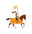 medieval knight with cross flag and brown horse vector image vector image