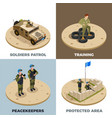 military service 4 isometric icons vector image
