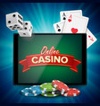online casino banner with tablet bright vector image vector image