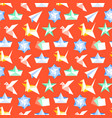 origami seamless pattern with flat icons paper vector image