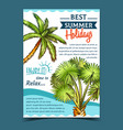 palm decorative trees on advertising poster vector image vector image