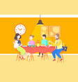 parents with children sitting cafe table enjoying vector image vector image